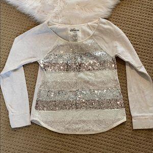 Express White sequin sweatshirt